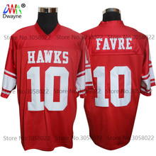 2017 Vintage Cheap American Football Jersey Brett Favre 10 Hancock Hawks High School Red Throwback jerseys Retro Stitched Shirts(China)