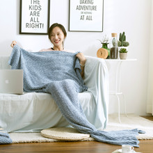 2017 New Mermaid sofa blanket Winter warmth Working leisure wool blanket Thickened fish tail cover blanket 80X190cm