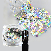 2017 New 1 Bottle Nail Art Sparkly Glitter Silver Laser Butterfly Sequins Slice Nail Thin Paillette Decoration 3D Tips BEHD02
