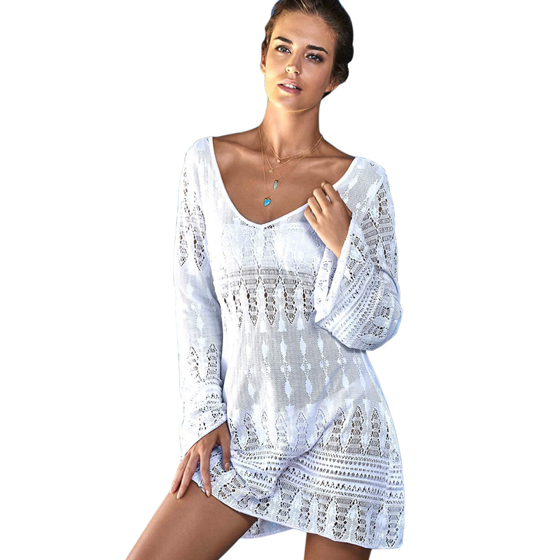 2017 Summer casual knitted beach dress flare sleeve sexy women dress hot sale white dresses shirt beachwear hollow out vestidos(China (Mainland))