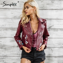Buy Simplee Embroidery black leather jacket women Zipper motorcycle faux leather coat Winter fashion biker jacket outerwear & coats for $27.99 in AliExpress store