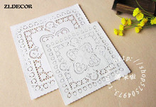 "ZLDECOR 8""&10""Mixed Sizes Square Lace Flower Paper Doilies Placemat Crafts for DIY Scrapbooking/Card Making/Wedding Decoration(China)"