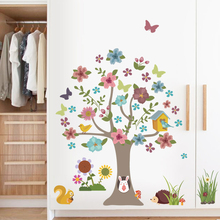 Animals Tree Wall Stickers Kids Room Decoration Flower Diy Home Decals Cartoon Safari Rabbit Mural Art(China)