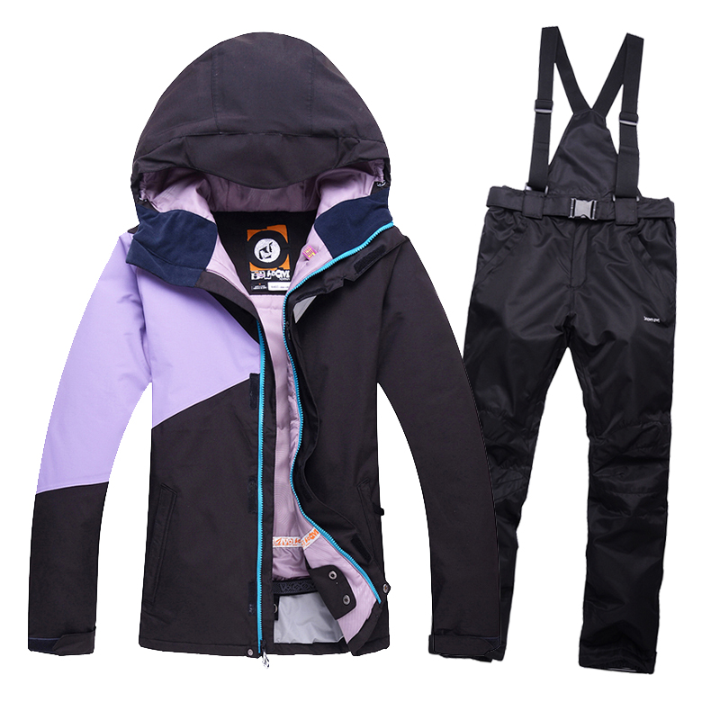 2016 New SkI jacket Snowboarding women Skiing Jackets and pants plus Thick Velvet Female Ski suit Warm Wind and Waterproof<br><br>Aliexpress