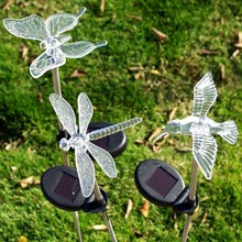 Multicolor LED Solar Light Dragonfly/Butterfly/Bird Lawn Lamps Solar LED Path Light Outdoor Garden Lawn Landscape Lamp(China)