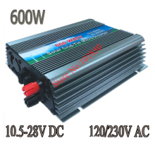 600W Pure Sine Wave grid tie solar Inverter,10.5-28V DC,120/230V AC mppt solar grid tie micro inverter(China)