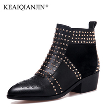 KEAIQIANJIN Woman Rivet Motorcycle Boots Square Toe Autumn Winter Studded Ankle Boots White High Heel Genuine Leather Punk Boots(China)
