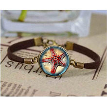 Ocean Sea Statement bracelet Red Starfish design kids Glass Marine life Vintage Silver Jewelry Halobios bracelets(China)