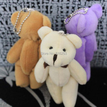 40pcs/lot 11CM Mini Joint Teddy Bear Small Plush Teddy Bear Pendant Keychain Wedding Party Gifts White Brown Pink