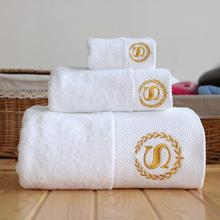 Free shipping white cotton bath towels Hotel SPA club sauna beauty salon free custom LOGO its name(China)