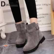 DORATASIA 새 눈 Boots Belt Buckle 폭) 저 (Low) 힐 Solid 화 Woman Casual women's Winter Warm 퍼 Ankle Boots 큰 Size 35-44(China)