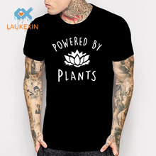 2017 New Fashion Vegan T-Shirt Power By Plants Lotus Printed T Shirt clothing Summer funny t shirts camiseta Tops Men Women