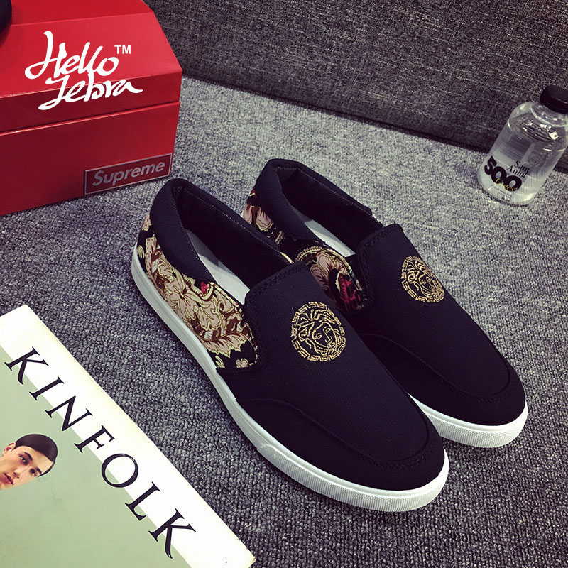 Hellozebra Men Casual Shoes Mesh Printing Fashion Chinese Eleme Flat With Soft Leather Canvas Breathable Student 2016 Autumn New<br><br>Aliexpress
