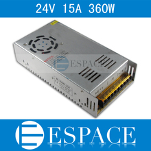 Best quality  24V 15A 360W Switching Power Supply Driver for LED Strip AC 100-240V Input to DC 24V free shipping