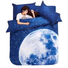 Thick 3D bedding set King size beddings and bed sets duvet cover set with bed sheet bedclothes Moon Star Galaxy space nasa(China)