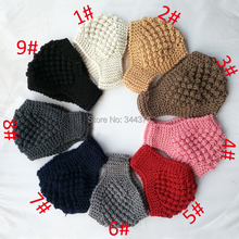 new 2014 high quality women's fashion girls knitted thermal wave pattern crochet wool scarf headband headdress 30pcs/lot
