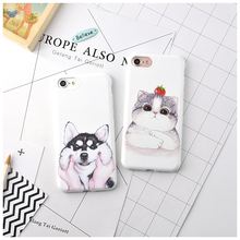 Cute Cartoon Pattern Phone Cases for Apple iPhone 6 6S 7 Plus Animal Fat Cat Husky Dog Soft Silicone Cover Case for iPhone 6Plus
