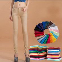 2017 new female leisure fashion thin leg skinny jeans / Women's candy color casual jeans pants trousers / plus size 25-34