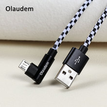 Olaudem Nylon Braided Micro USB Cable 90 Degree USB Micro USB Cable Fast Charging Android Wire Charging Phone Cables CB050