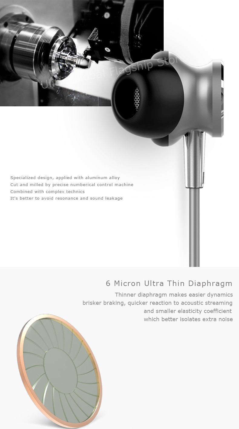 New UiiSii GT550 Phone Earbuds In-ear Subwoofer In-line Earphone Metal with Microphone Universal HiFi Headsets for PC Smartphone