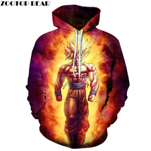 Anime Hoodies Dragon Ball Z Pocket Hooded Sweatshirts Kid Goku 3D Hoodies Pullovers Men Women Long Sleeve Outerwear New Hoodie(China)