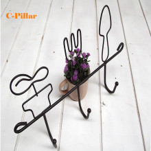 1 PC Rural Postoral Wrought Iron Metal Key Hook Holder Rack Coat Garment Hooks Home Decor Storage Racks Holders for Living Room