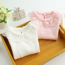 Girls Autumn Spring Clothing Girls Fashion Sweaters Kids Lace Collar Sweaters Children's Pullover Girls Knitwear