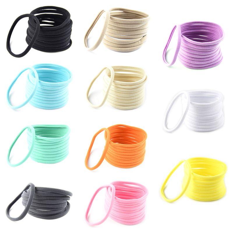 10 Pcs//pack Child Seamless Elastic Hair band Baby Hood DIY Solid Color Headband