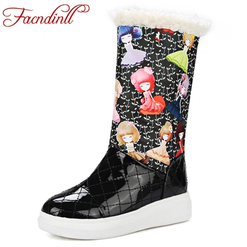 FACNDINLL Plus size 34-43 winter snow boots for women warm fur patent leather shoes waterproof boots flat platform ankle boots<br>