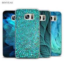 BINYEAE feather blue Clear Phone Case Cover for Samsung Galaxy Note 2 3 4 5 7 S3 S4 S5 Mini S6 S7 S8 Edge Plus