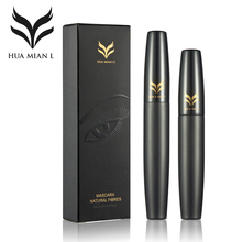 HUAMIANLI Brand Mascara Makeup Set Black 3D Mascara + Natural Fiber Eye Lash Waterproof Curling Lengthening Cosmetics 2pcs/lot(China)