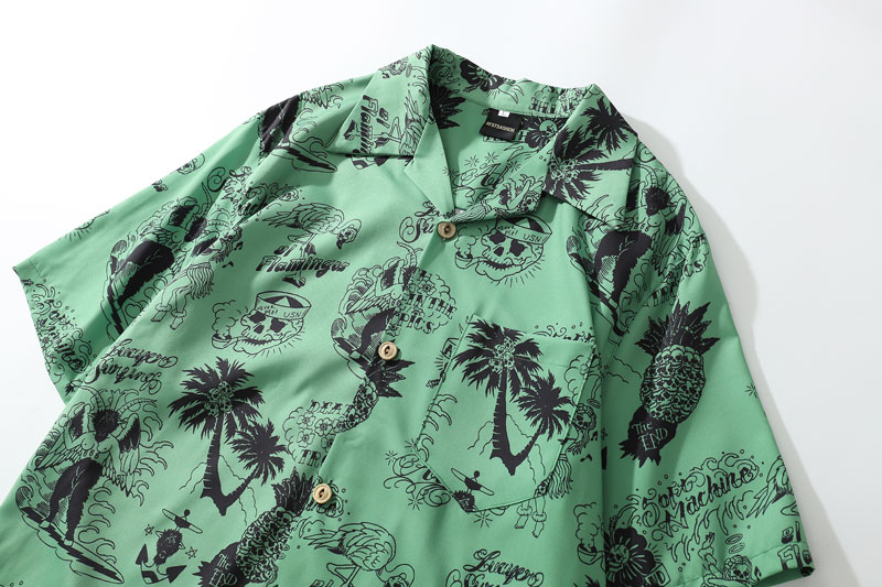 Graffiti Flamingo Palm Tree Pineapple Skull Print Shirts 3