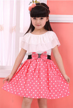 Sweet Girl Dresses Pink With White Polka Dot Dresses Princess Girl Chiffon Dress With Lotus Leaf Ruffle Children Clothes