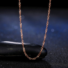 Fashion Women Girl Jewelry Rose Gold  Color Water Wave Ripples Chain Necklace Accessories Wholesale