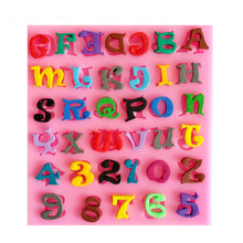 Silicone English Letters Numbers Fondant Cake Mold Chocolate Candy Sugar Biscuits Molds Kitchen Cake Ice Decorating Tools Maker(China)
