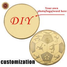 WR Football Gold Plated Blank Coin DIY Sports Design Metal Challenge Coin with Case Customized Basketball Commemorative Coin(China)