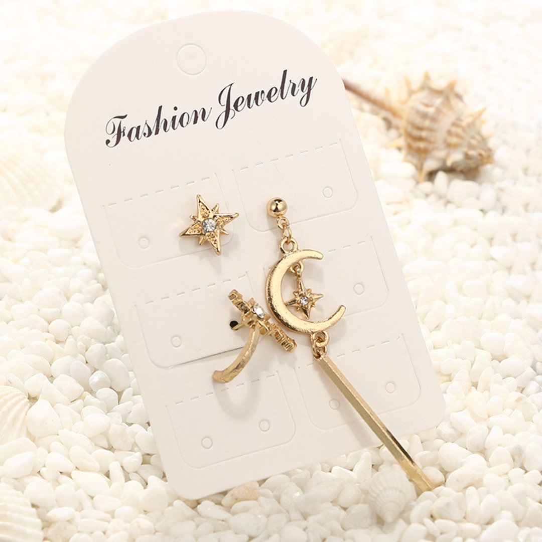 3pcs/set Bohemian Style Cute Moon Star Earrings Elegant Crystal Charms Gold Color Earrings Women Fashion Jewelry Chic Gifts