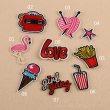 10PCS/LOT Flamingo Embroidered Patch for Clothing Iron On Appliqued Fabric Parches Gang Girl Letters Ice Cream Patches