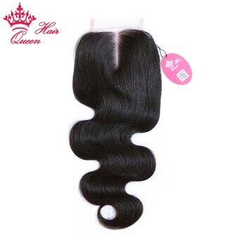 Королева продукты волос швейцарские закрытия шнурка бразильский девственные волосы средней части тела волна плотности 130% бесплатная дост...