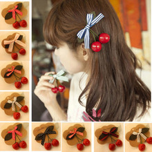 10Pcs/lot Women Girl Cute Bow Cherry Hair Clip Hairclip Bang Side Clip Hairpins Red Berry Hair Brarrette Clips Hair Accessories(China)