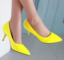 Mid Heels Pointed Toe Yellow Shoes Woman Pumps Stiletto White Bridal Shoes Ladies Shoes Size 34 -39