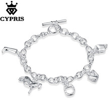 H074 silver horse bracelet,fashion jewelry, trendy chain,wholesale,Nickle free antiallergic ,factory price Armband jewelry