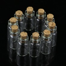 10pcs/Set 1mL Mini Small Glass Bottles with Clear Cork Stopper Tiny Vials Jars Containers Message Weddings Wish Jewelry Favors
