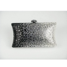 7701Z Crystal Black/Grey/Clear in gradual change effect Bridal Party Night Metal Evening purse bag clutch bag case box handbag