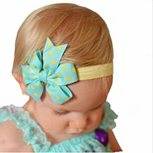 2 pcs Newborn Lovely Kids Girls Headband Infant Toddler Bowknot Dot Ribbon Bow Hairband Headband Children Hair Band Accessories(China)