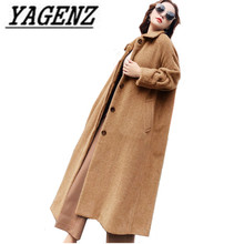 2018 New Winter Korean Loose Woolen Long Jacket Coats Women's clothing Thick Warm Casual Women Wool Outerwear Coats Black Camel(China)