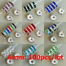 6mm AAA Metal Silver Plated Crystal Rhinestone Rondelle Spacer Beads 11colors Choose 100pcs Free Shipping (W03258-w03269)