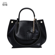 XIYUAN BRAND Women Shoulder Bags GREEN GREY RED Crocodile Handbag PU Leather Alligator Pattern Tote Bag Female Big Tote Bag Lady(China)