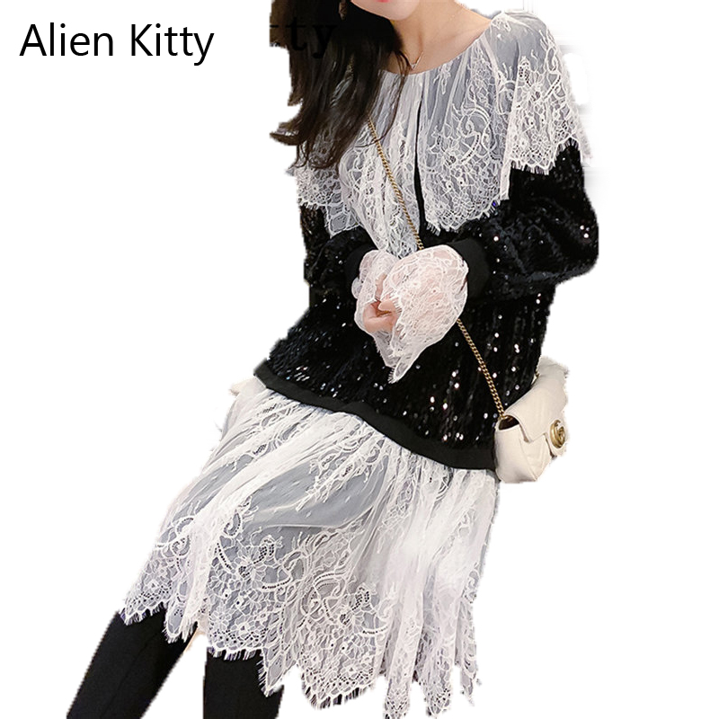 Alien Kitty 2019 Fashion Spring Autumn Lace Vintage Solid Fashion Casual Shirts Fresh Women Slim Loose Shirt Female Black Top