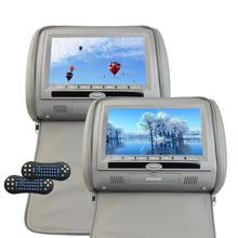 "9"" Car Headrest DVD Player pillow Digital Screen Artificial Leather Car Monitor Support USB SD IR FM Tramsitter cat stereo video"
